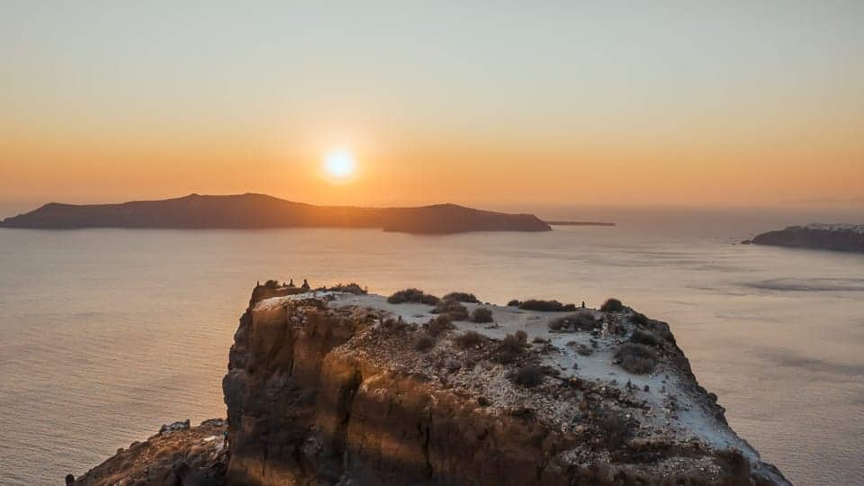 Sunset view for your Elopement in Santorini - Elopement VIdeography